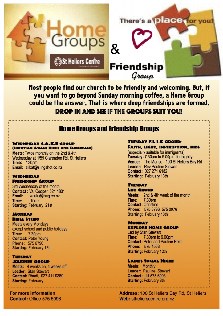Home Groups and friendship