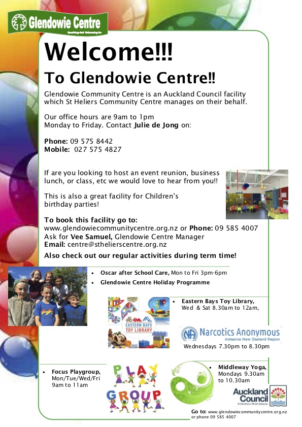 Welcome to Glendowie Centre poster for programme booklet